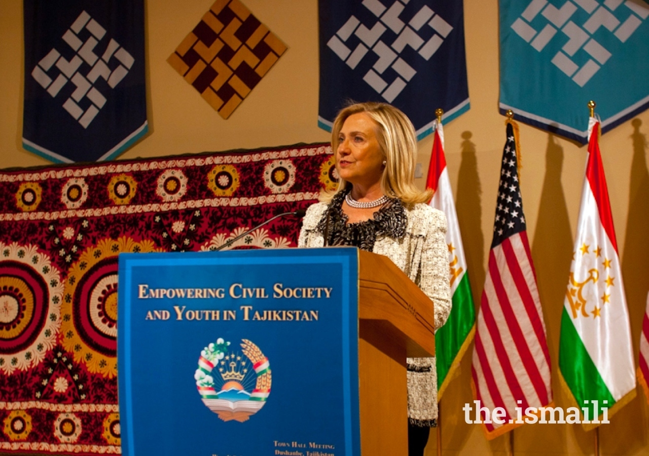 Former US Secretary of State Hillary Clinton speaks at a town hall meeting focussed on youth, hosted at the Ismaili Centre Dushanbe.