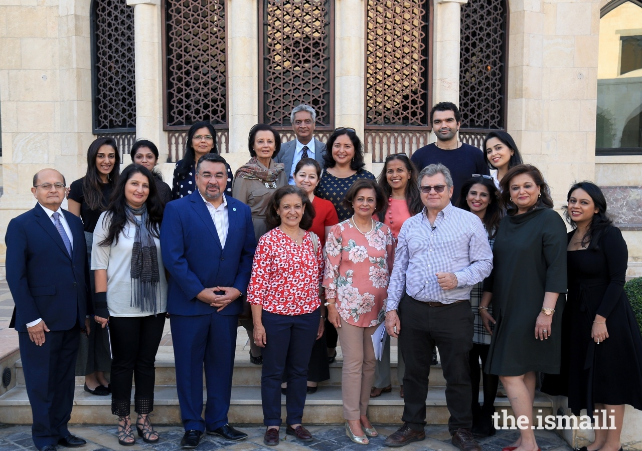 Leaders and members of the Jamat join the architects of the Ismaili Centre Dubai for a group photograph.