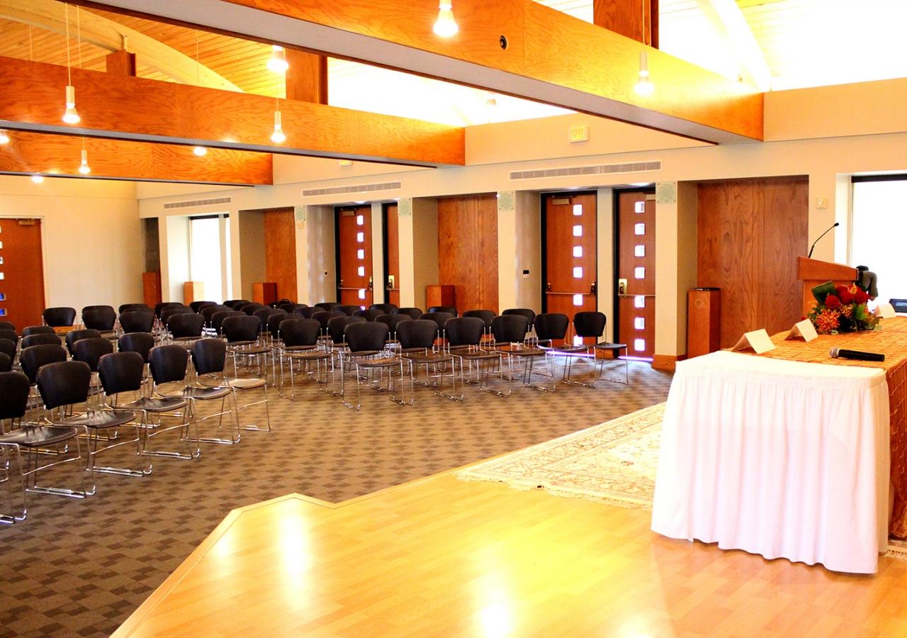 The social hall of the Ismaili Jamatkhana and Center, Houston. Shiraz Khabani