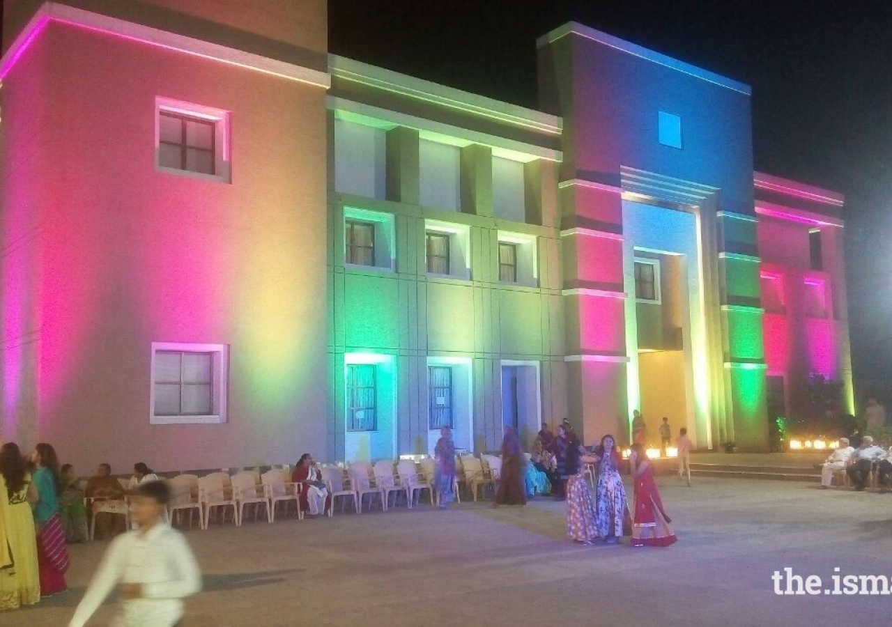 Jogeshwari Jamatkhana in North Mumbai decorated with lighting