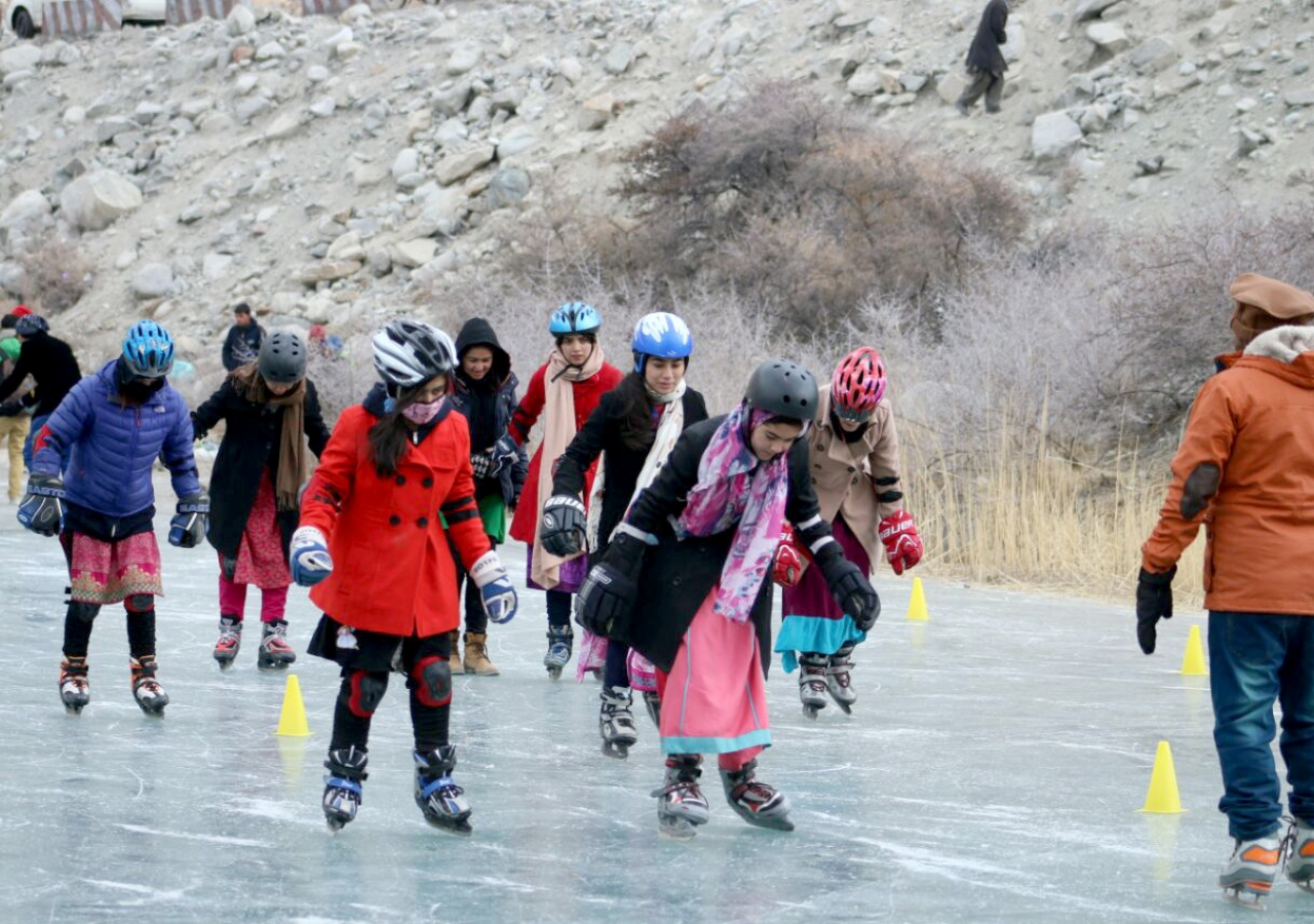 Learning to skate at the foot of Batura Glacier in Gulmit, Upper Hunza.