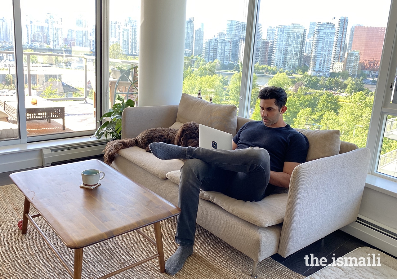 Amaan Nathoo of Vancouver, B.C, working at home.