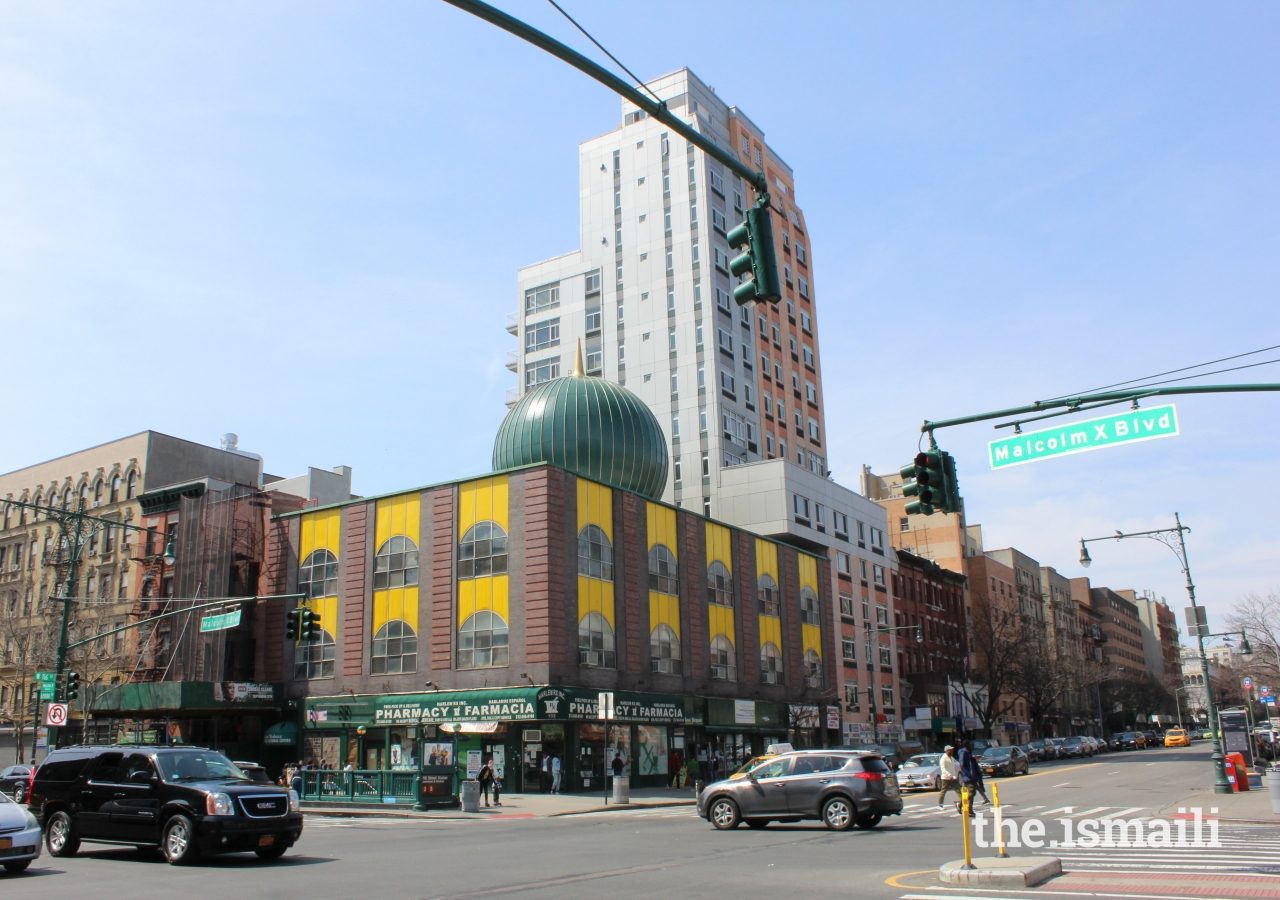The tour ended at the magnificent green domed Masjid Malcolm Shabazz which was founded in 1956. The mosque hosts interfaith congregants, a school, and continues to be a hub of religious life in a rapidly-changing corner of Harlem.