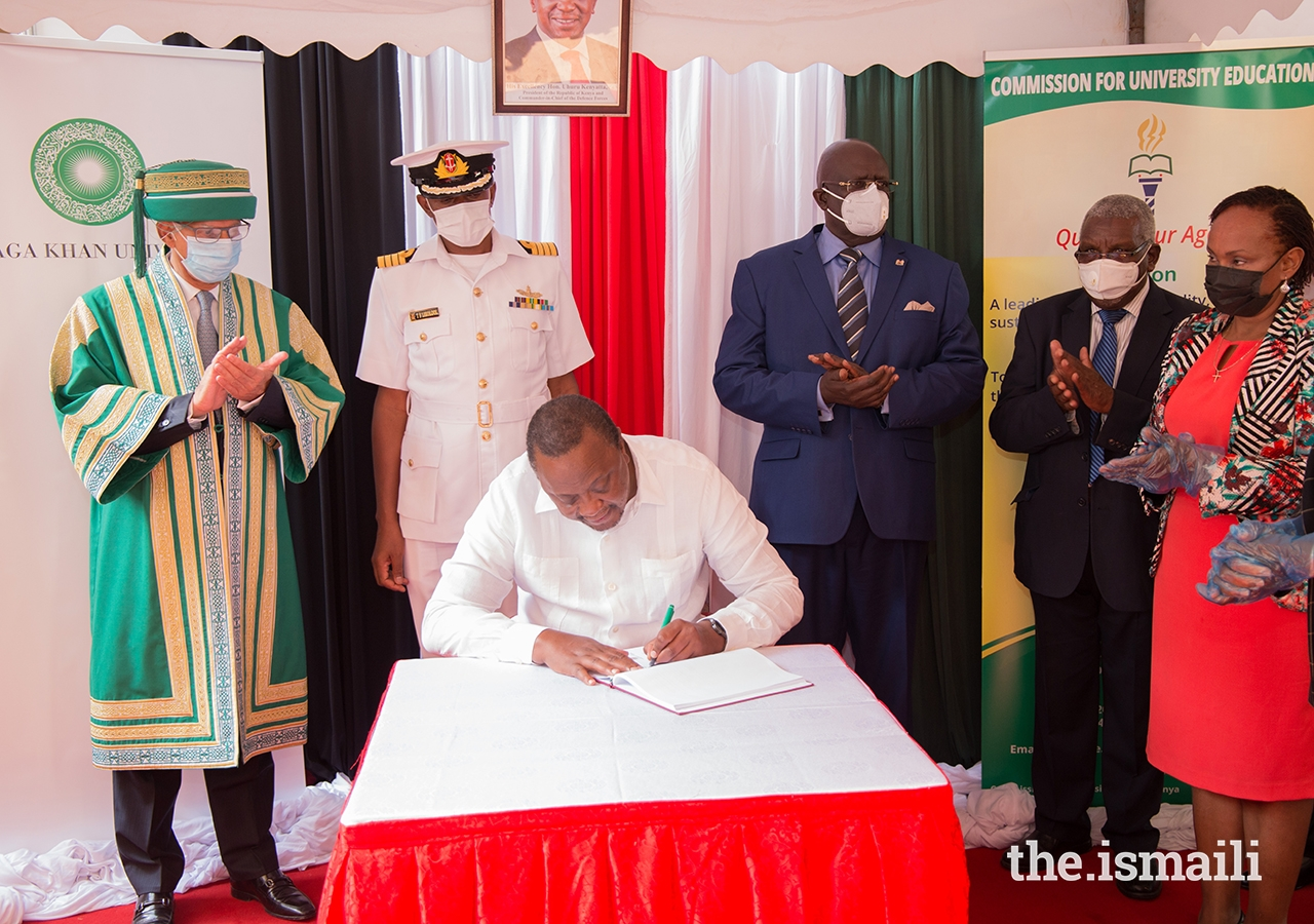 President Uhuru Kenyatta presented the Aga Khan University with a newly granted charter at a special ceremony held in Nairobi on 11 June 2021.