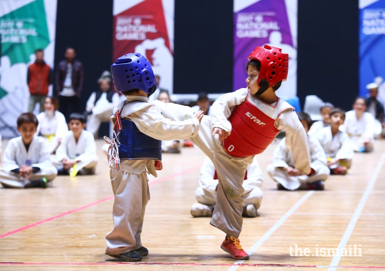 Young athletes put on a Taekwondo exhibition at the DJSF National Games