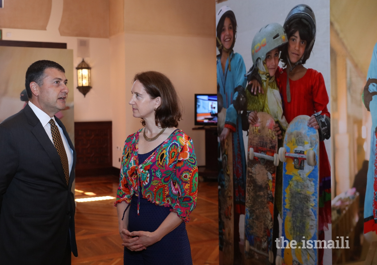 His Excellency Emmanuel Kamaraniakis, the Canadian Counsel General, and photographer Jessica Fulford-Dobson at the Skate Girls of Kabul event held at the Ismaili Centre, Dubai.