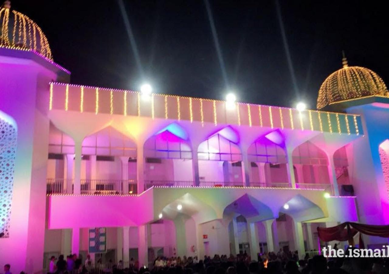 The Jamat celebrates at Karimabad Jamatkhana in Surat, Gujarat.