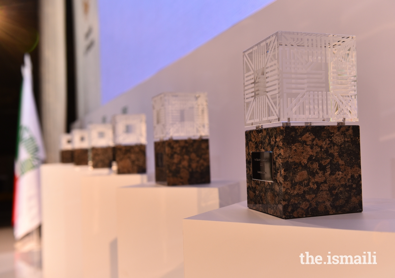 Aga Khan Award for Architecture trophies lined up in preparation for the prize-giving ceremony to begin.