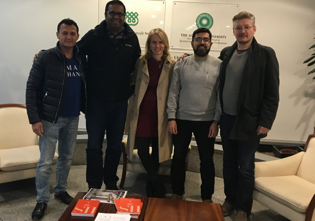 (L-R) Ahmad Sakhi, Malik Merchant, Dr Sarah Bowen Savant, Sohail Merchant, and Dr Maxim Romanov during the KITAB project which was completed in 2018.