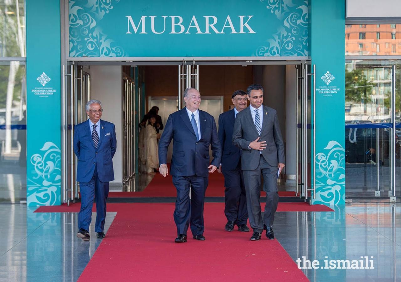 Mawlana Hazar Imam departs Centro de Congressos after gracing the Portugal jurisdiction Jamat with a Mulaqat.