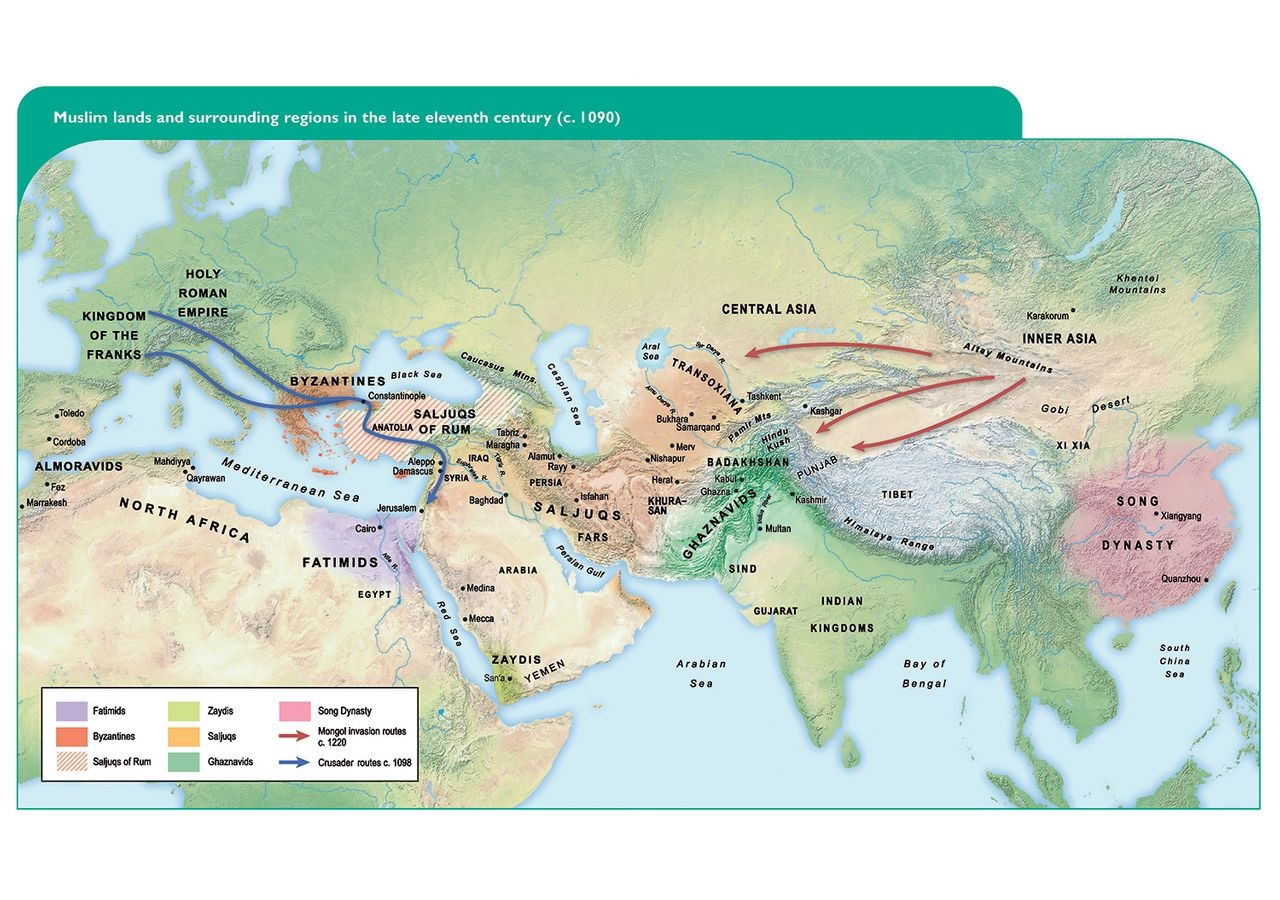 Map of the Muslim lands and surrounding regions in the late eleventh century, taken from Encounters in Muslim History (Volume One) module of the IIS Secondary Curriculum. Photo Credit: The Institute of Ismaili Studies.