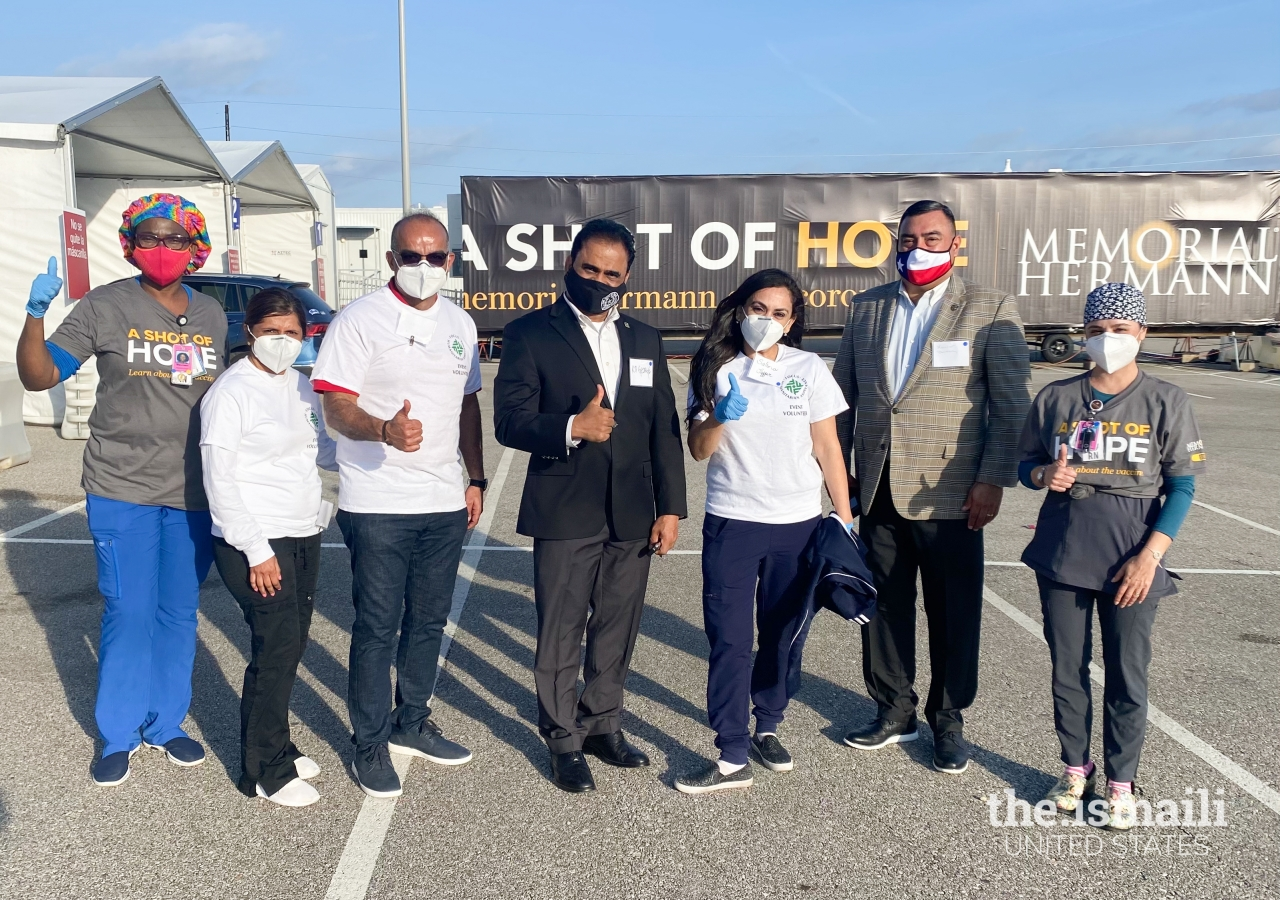 Medical volunteers with Fort Bend County Commissioners Court Judge KP George and team at the Smart Financial-Memorial Hermann COVID-19 vaccination site in Fort Bend County, Texas in February 2021.