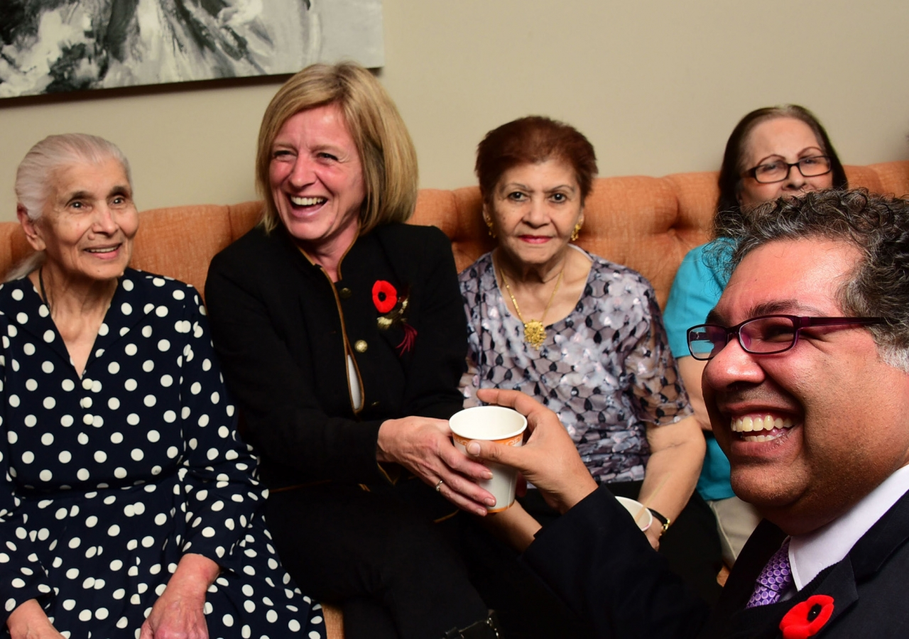 Premier Rachel Notley and Mayor Naheed Nenshi visit residents currently living at Generations campus in Calgary.