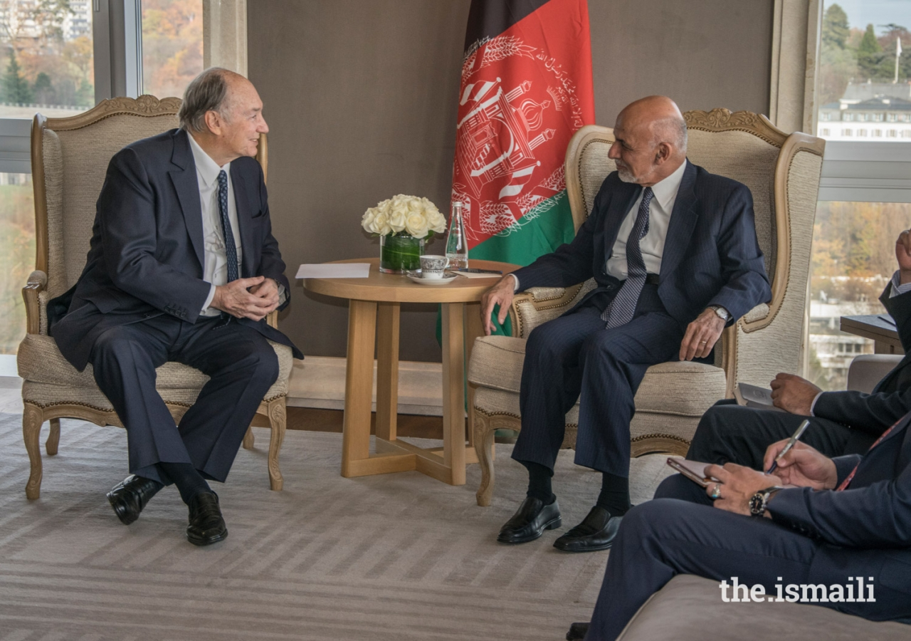 Mawlana Hazar Imam in discussion with Afghanistan's President His Excellency Mohammad Ashraf Ghani at a bilateral meeting held at the Geneva Conference on Afghanistan.