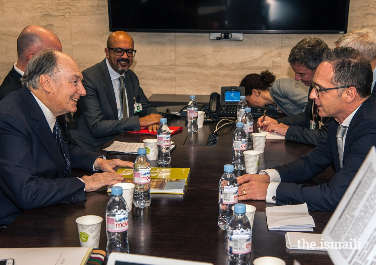 Mawlana Hazar Imam in discussion with Mr Heiko Maas, German Foreign Minister at a bilateral meeting held at the Geneva Conference on Afghanistan.