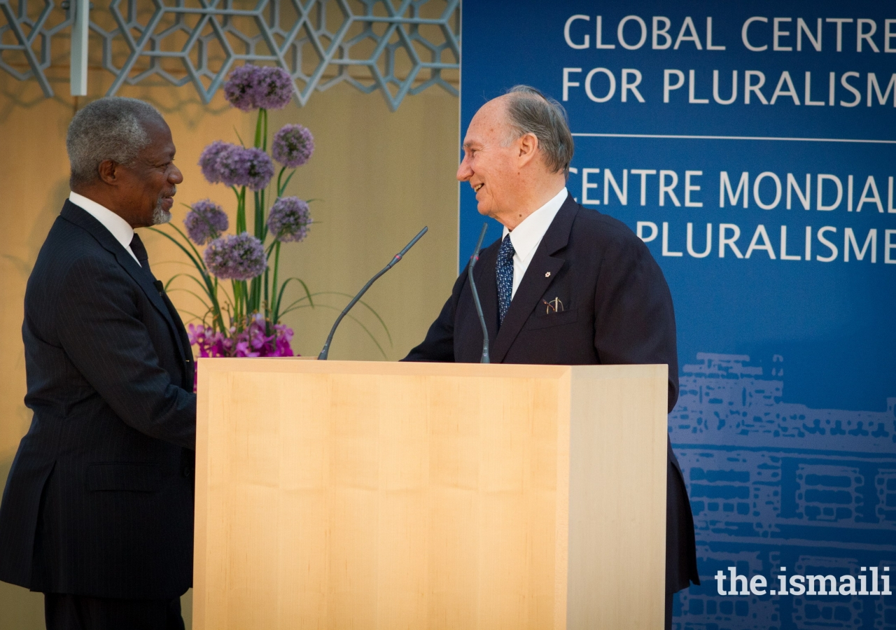 "Mawlana Hazar Imam welcomes Kofi Annan to the stage to deliver the Global Centre for Pluralism's Annual Lecture for 2013. In his introductory remarks, Hazar Imam described Mr Annan: ""Kofi Annan has truly been an inspiration – demonstrating the power of patience and persistence – of a willingness always to listen – and a refusal to give up hope."""