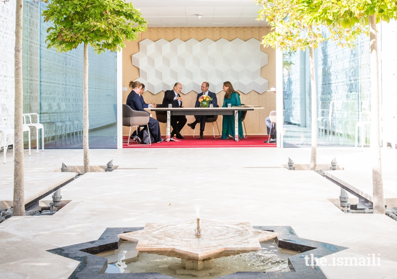 Mawlana Hazar Imam in conversation with the Duke and Duchess of Cambridge, overlooking the Garden of Light at the Aga Khan Centre.