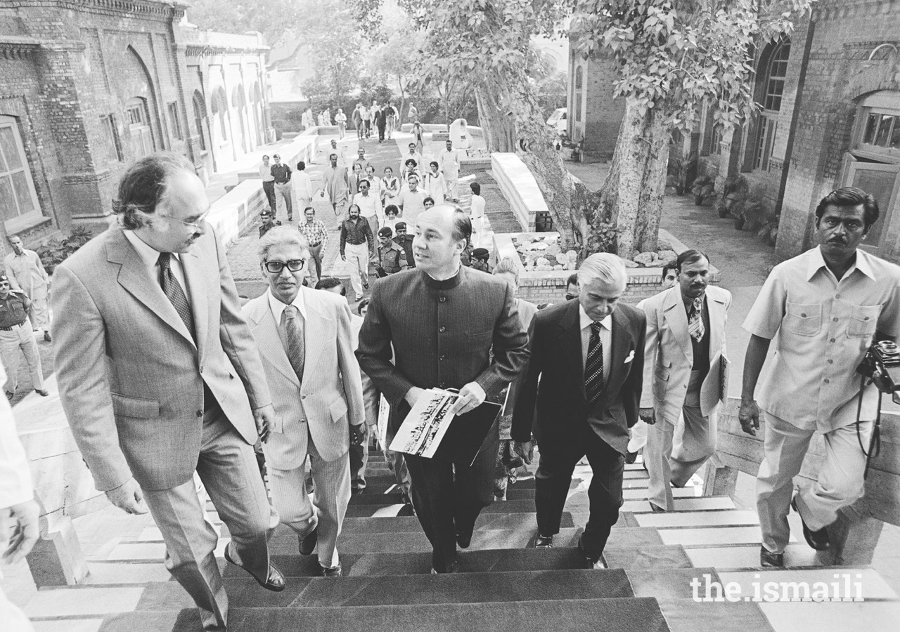 Mawlana Hazar Imam at the first Aga Khan Award for Architecture ceremony at Shalimar Gardens in Lahore in 1980.