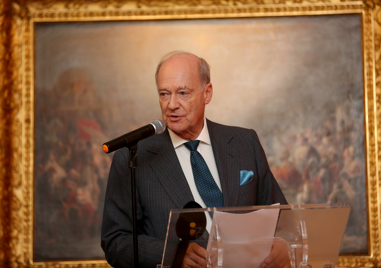 Prince Amyn delivering his remarks at the National Museum of Ancient Art in Lisbon, Portugal. José Caria