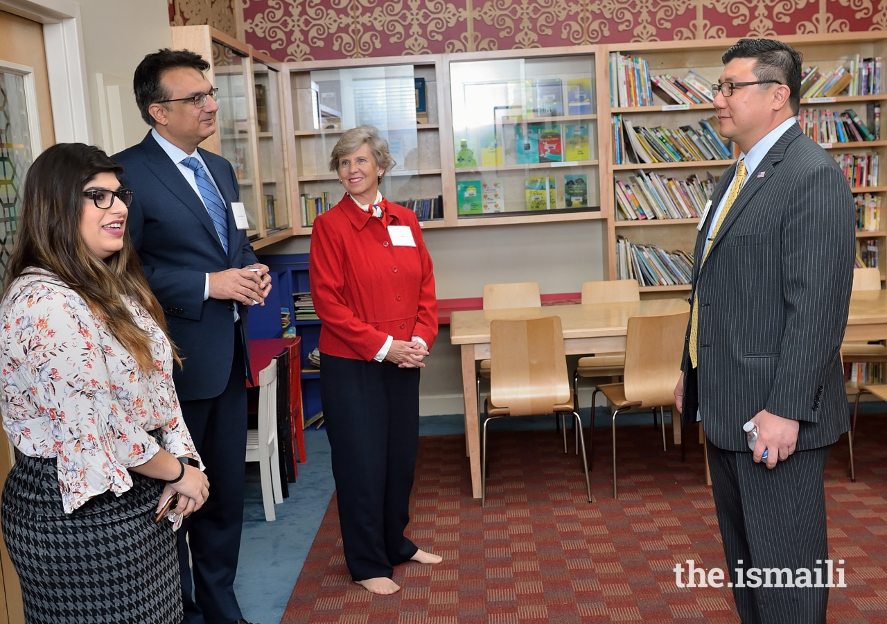 President Murad Abdullah, Judge Susan Barwick, and the United States Attorney BJay Pak accompanied by Albina Bhimani on a guided tour of the Ismaili Jamatkhana in Decatur, Georgia.