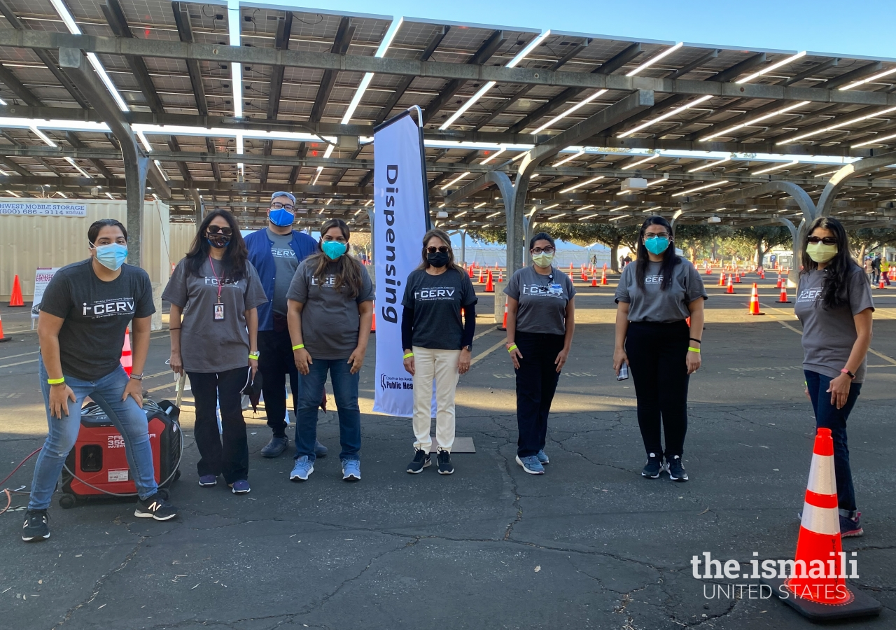 I-CERV volunteers at the Los Angeles County vaccination site at California State University Northridge, on February 6, 2021.
