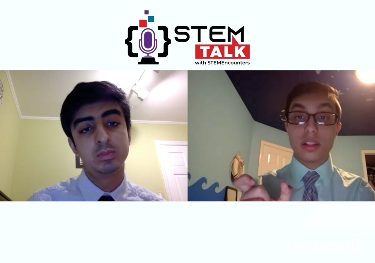 During an episode of their podcast entitled STEMTalk, Saif Punjwani, CEO and founder of STEMEncounters (right), explains materials science and engineering in quantum entanglement to Shaaz Ali, COO of STEM Encounters (left).