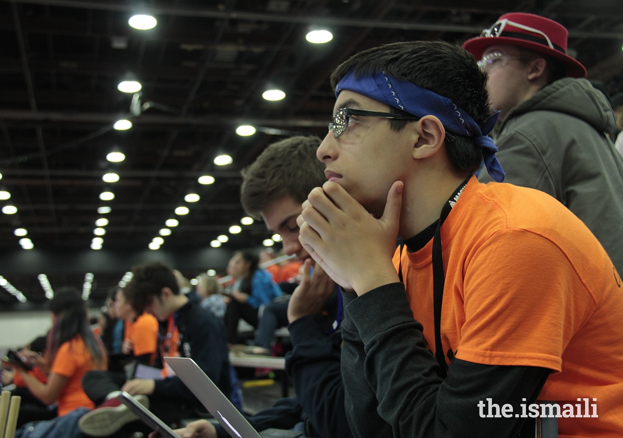 While at the National FRC (FIRST Robotics Competition), Saif Punjwani analyzes the game data to be used for strategy later on.