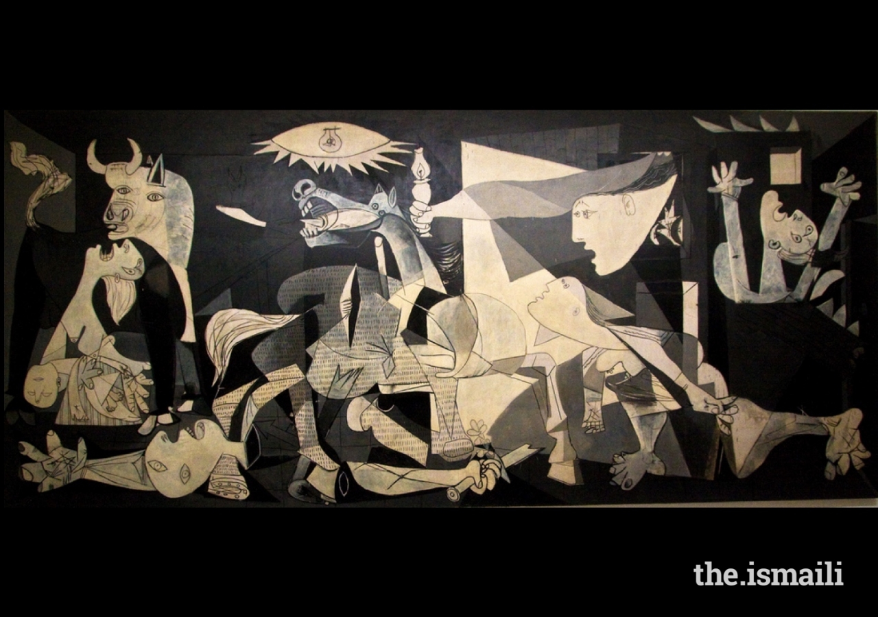 Guernica by Pablo Picasso, 1937. Perhaps his most famous work, a commentary on the Spanish Civil War. At the Museo Reina Sofia, Madrid.