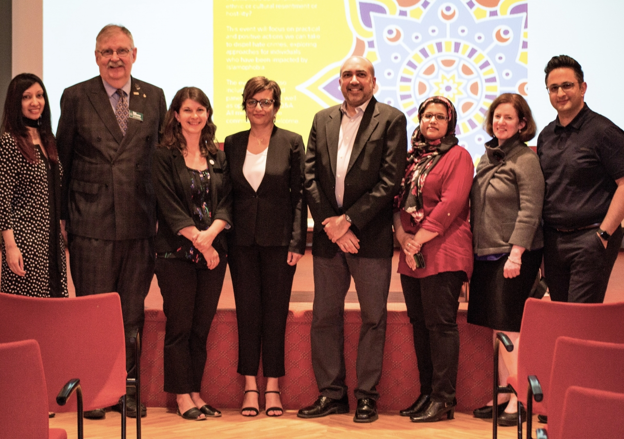 Organizers from the City of Burnaby, Simon Fraser University and the Ismaili Centre and the panelists from the event.