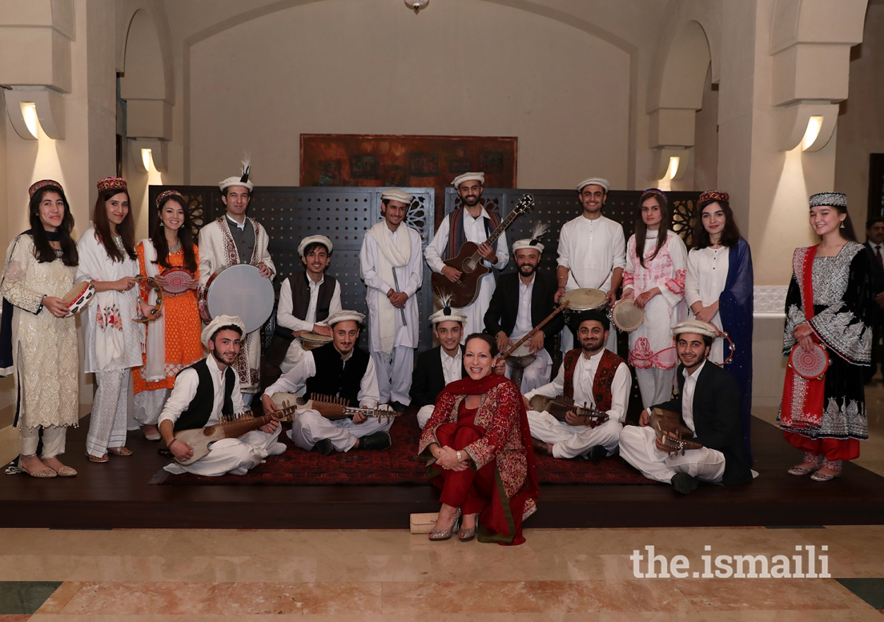 Princess Zahra Aga Khan with the performers at the institutional dinner in Islamabad