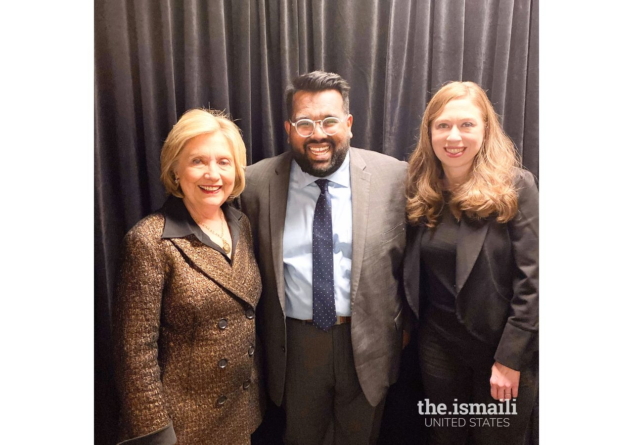 Rayhaan backstage after working an event for former US Secretary of State Hillary Clinton, and her daughter, author Chelsea Clinton.