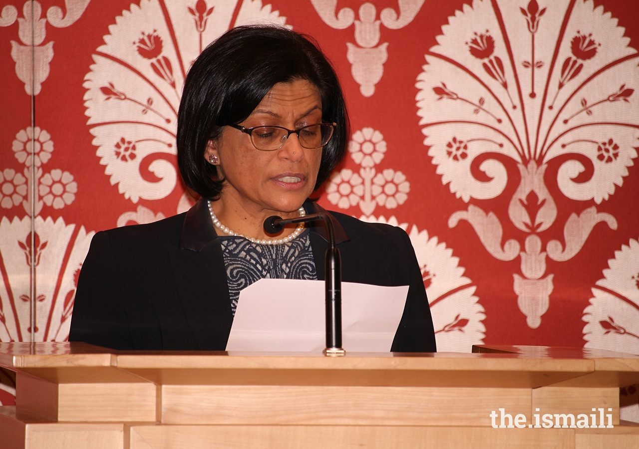Ismaili Council for Ontario President Sheherazade Hirji delivers welcome remarks to attendees of the annual Milad-un-Nabi lecture at the Ismaili Centre, Toronto.