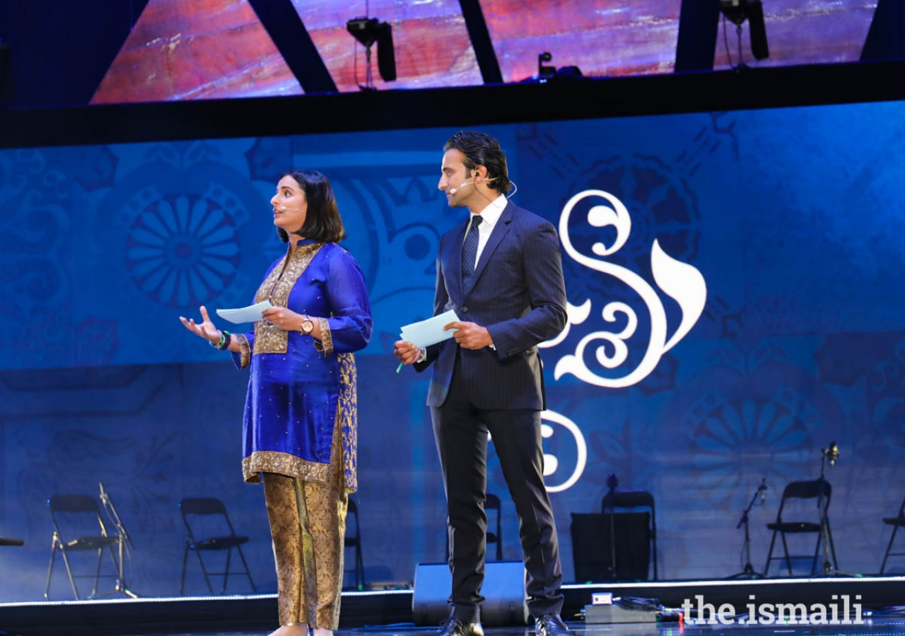 """Hosts Shereen Kassam and Huse Madhavji lead the Talent Showcase audience on a unique journey of sights, sounds, and senses focused on the artistic theme of """"Reflection."""""""