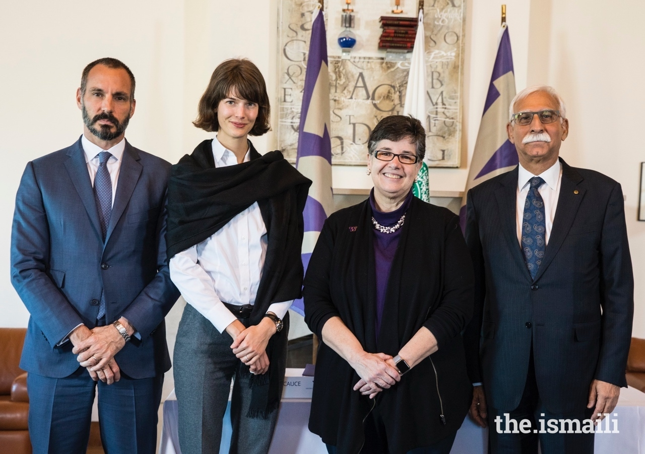 From L to R: Prince Rahim and Princess Salwa, UW President Ana Mari Cauce, and AKU President Firoz Rasul.
