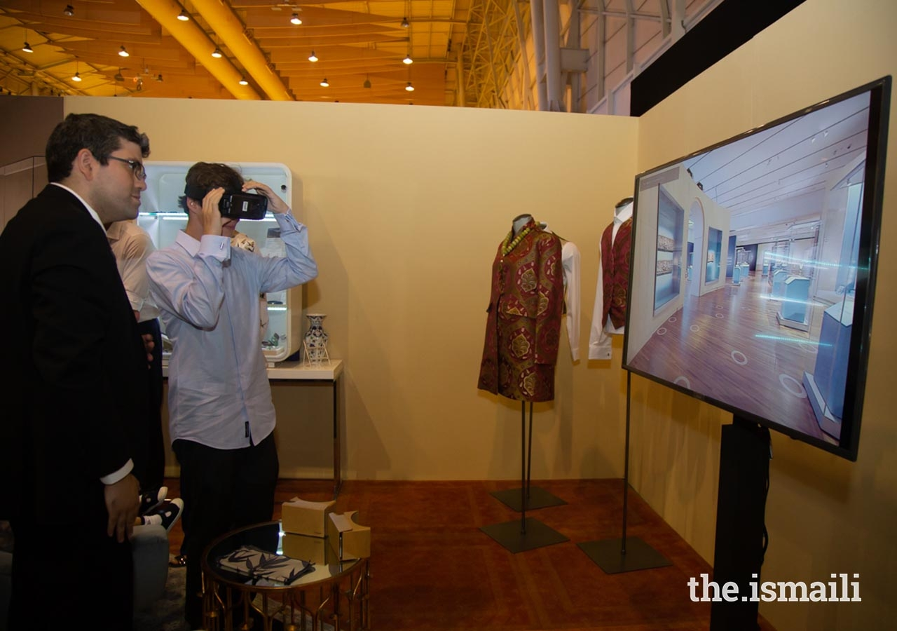 Master Iliyan Boyden enjoys a virtual reality tour at the Aga Khan Museum exhibit as part of the International Arts Festival.
