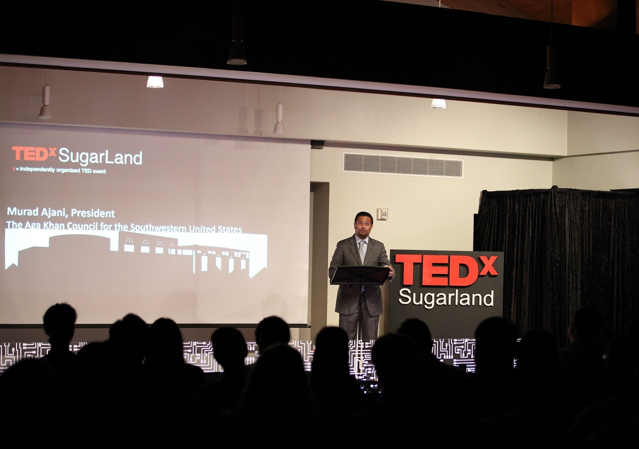 President Murad Ajani of the Ismaili Council for Southwestern USA opening the TEDx Sugar Land Innovators Conference, held at the Ismaili Jamatkhana and Center, Houston, in August 2016.