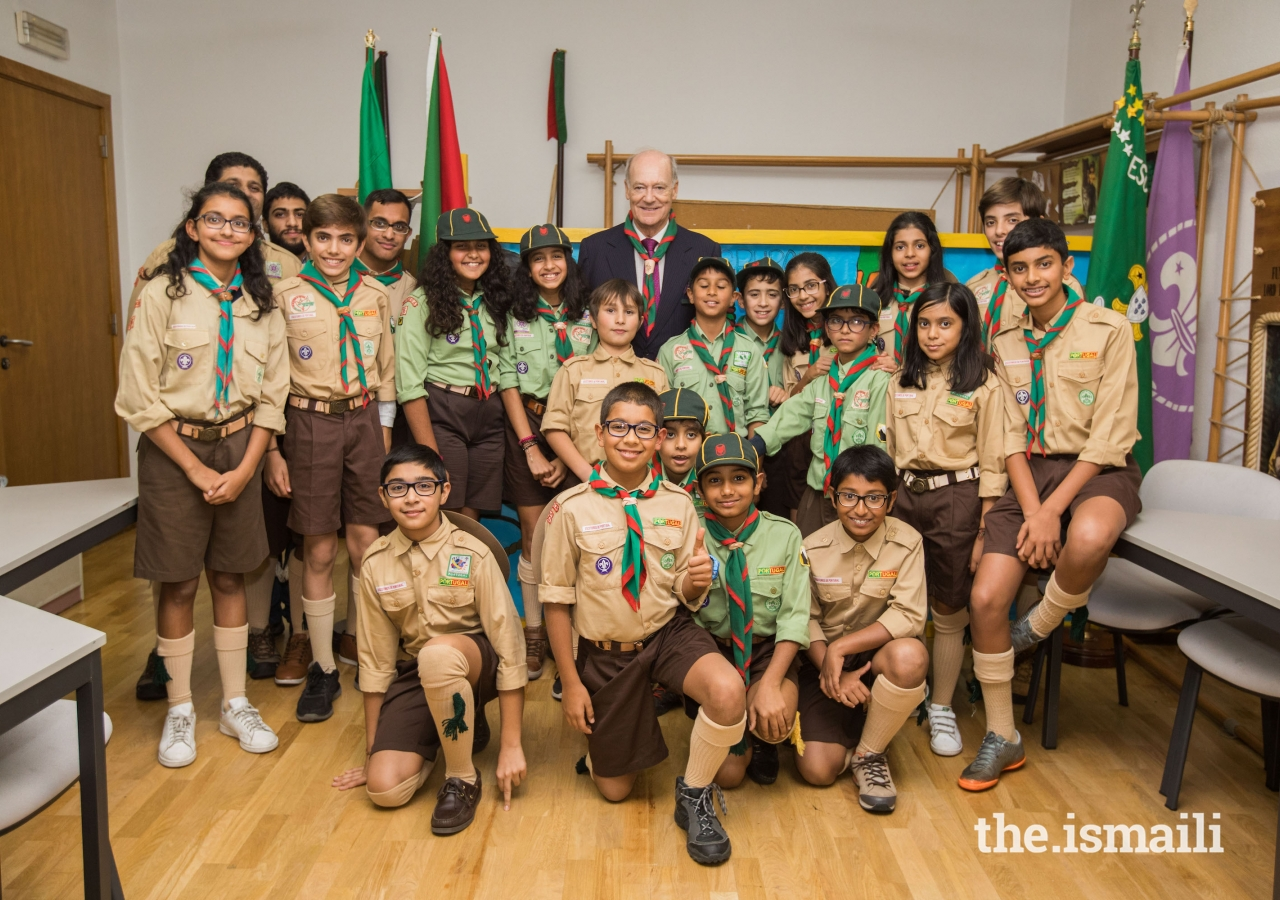 Prince Amyn joins the Ismaili Scouts in Lisbon for a group photograph in 2017.