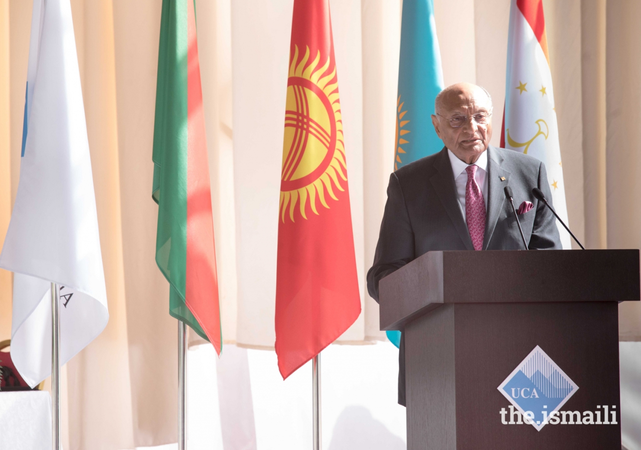 Chairman of the Board of Trustees Shamsh Kassim-Lakha addresses guests at the inauguration of the University of Central Asia's Khorog Campus.