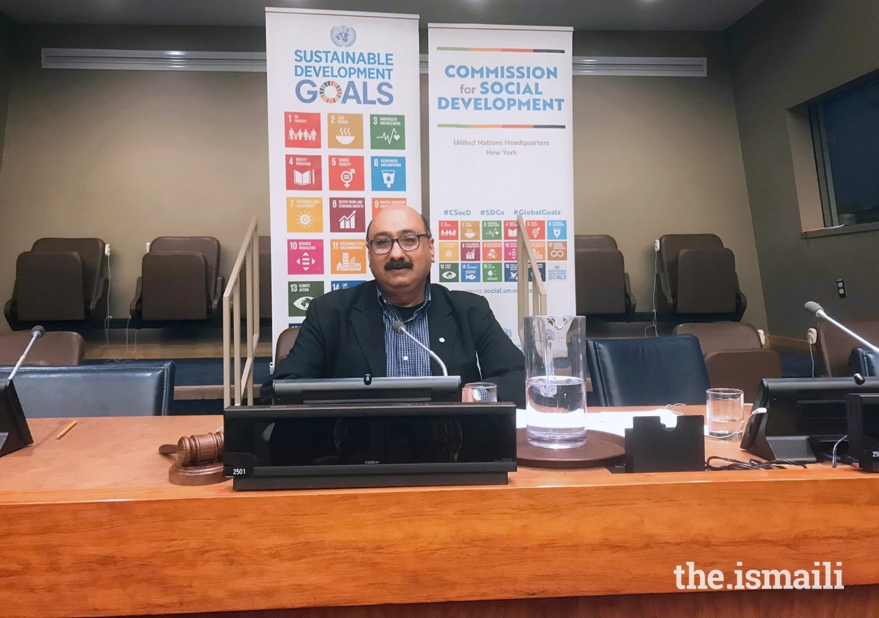 Aziz Nathoo presents at the United Nations in New York City on the role of civil society and specifically on civil dialogue in interfaith spaces.