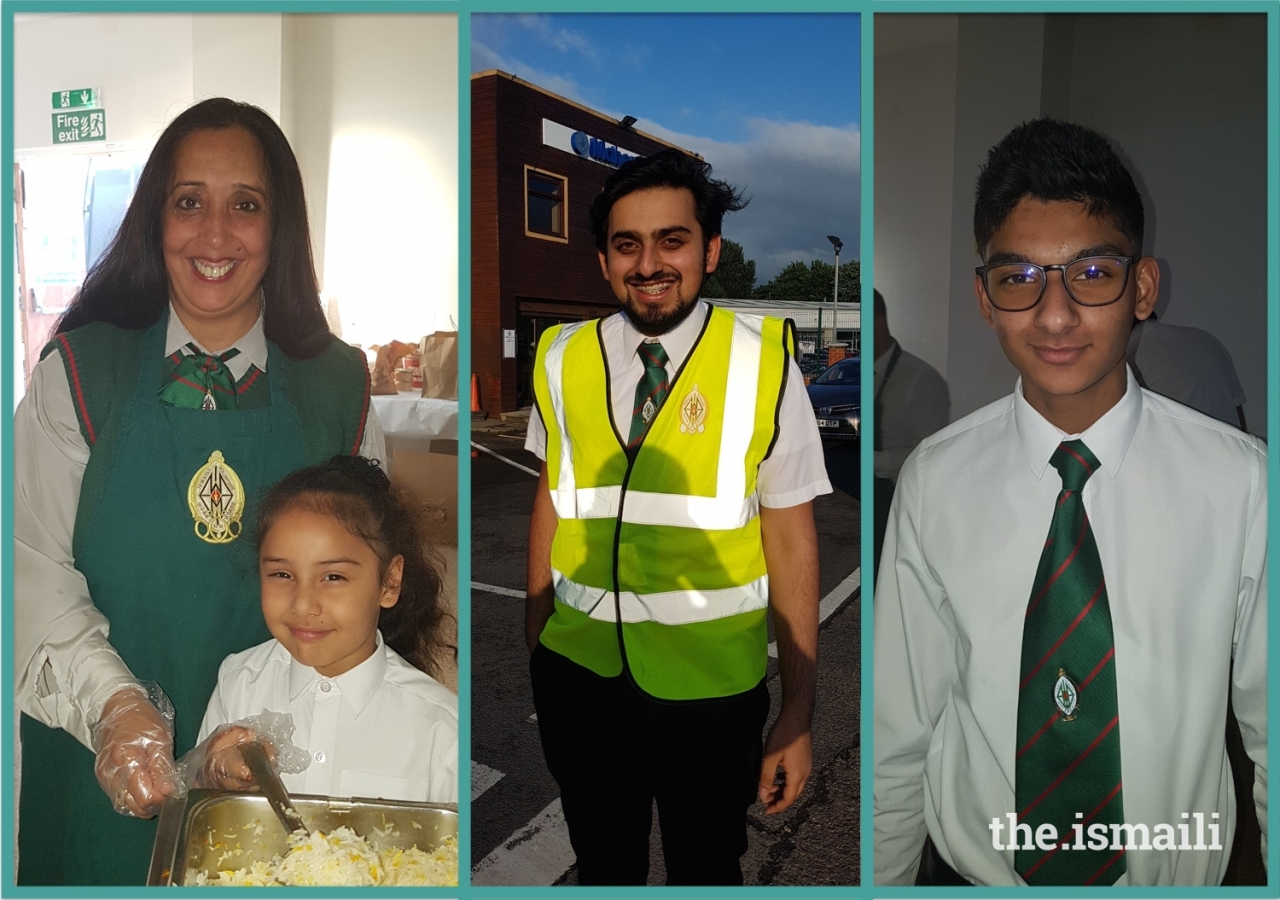 Rumina Rafizadeh and her daughter Eiliyah (left), Experienced Set up and Dismantle team member Inaarali Ladha (centre), and Cadet Mentor Adnan Ebrahim (right), all from Leicester Jamatkhana.