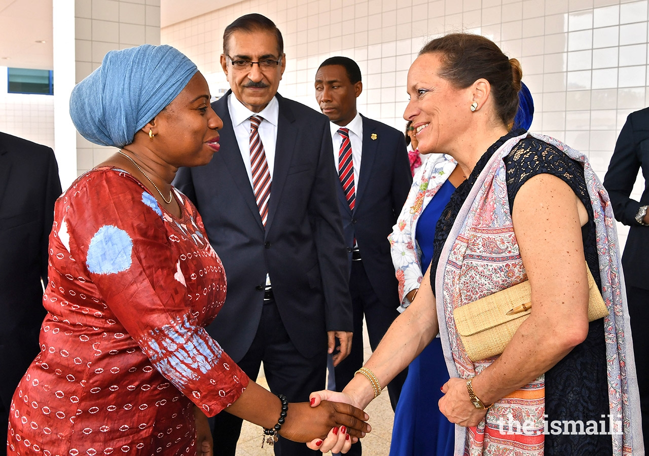 Princess Zahra welcoming Hon. Ummy Mwalimu, the Minister of Health, Community Development, Gender, Elderly and Children at the opening of Phase II of The Aga Khan Hospital, Dar Es Salaam.