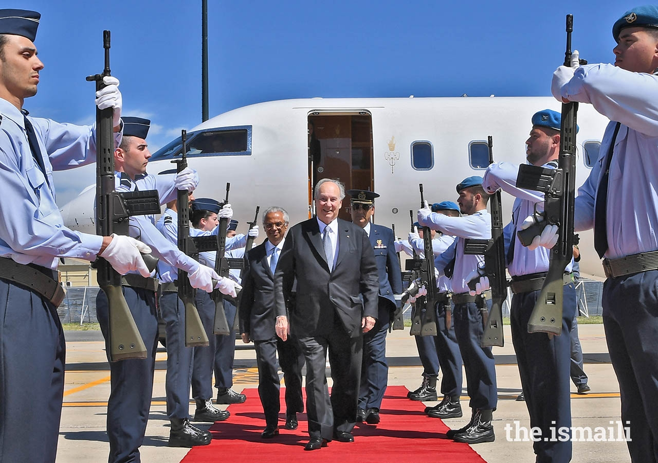 Mawlana Hazar Imam arrives in Lisbon, Portugal to Military Honours on the occasion of his Diamond Jubilee.