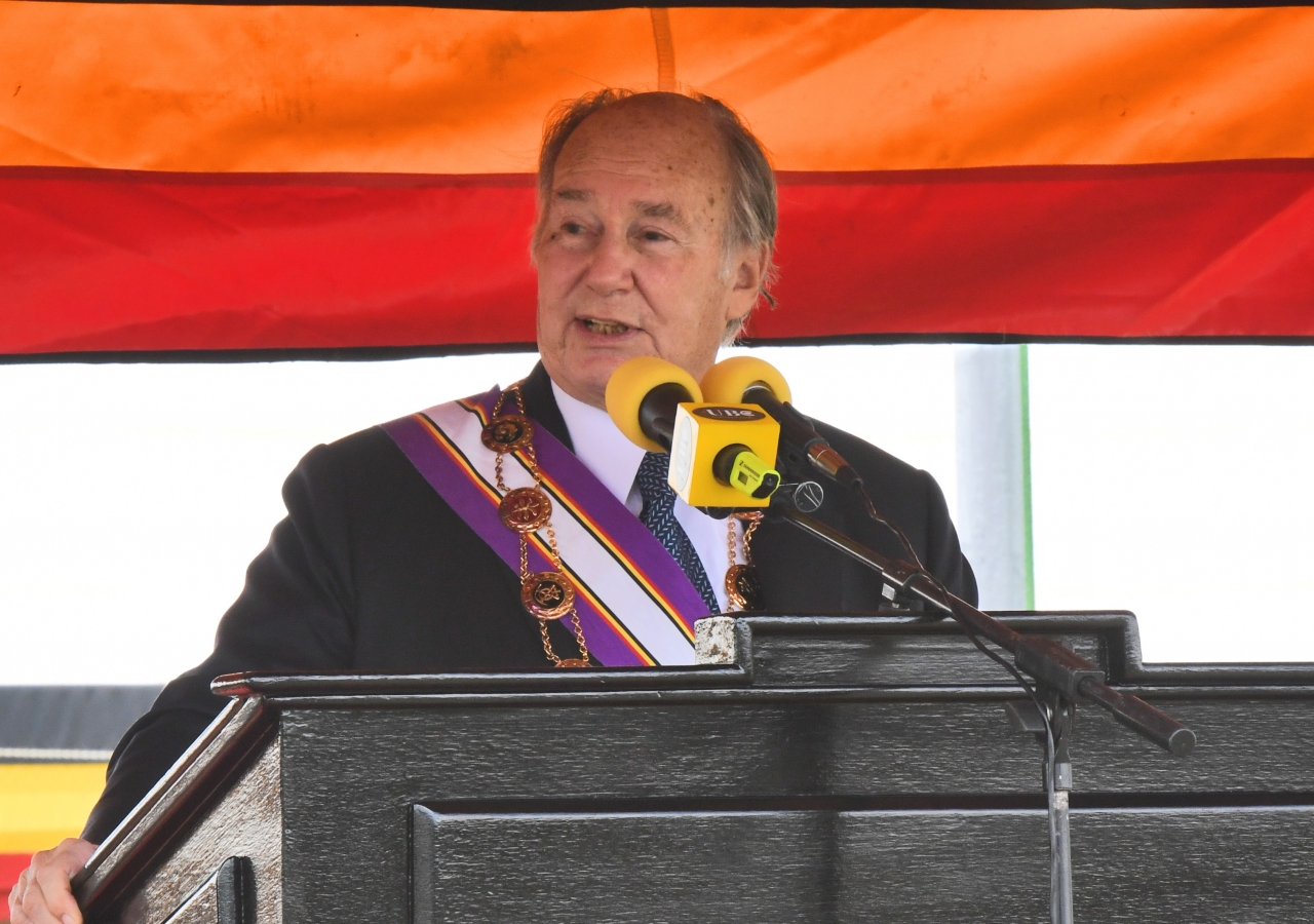 Mawlana Hazar Imam delivers remarks after being awarded The Most Excellent Order of the Pearl of Africa.