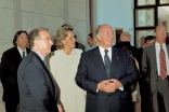 President Jorge Sampaio and First Lady Maria Jose Ritta join Mawlana Hazar Imam and Prince Amyn for a guided tour of the new Ismaili Centre, Lisbon.