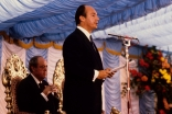 Mawlana Hazar Imam addresses the gathering at the Foundation Ceremony of the Ismaili Centre, London.