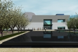 Artist rendering of the Aga Khan Museum, adjacent to the Ismaili Centre, Toronto, looking through the formal gardens.