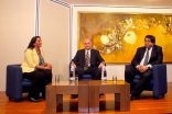 Sheila Manji, Michael Kocher and Naguib Kheraj take questions from the audience at the Ismaili Centre, London. Ismaili Council for the UK / Inaara Somani