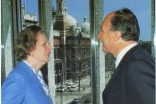 The late Baroness Margaret Thatcher, then Prime Minister, in discussion with Mawlana Hazar Imam during the opening of the Ismaili Centre. Ismaili Council for the UK