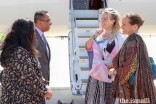 Princess Zahra and Miss Sara Boyden meet with President Al-Karim Alidina and Vice President Celina Shariff of the Ismaili Council for the United States of America, upon their arrival into Houston.