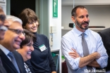 Prince Rahim and Princess Salwa share a light moment along with AKU President Firoz Rasul, Ismaili Council for USA President Dr. Barkat Fazal and Dr. Saida Rasul, during a lab tour at the Fred Hutchinson Cancer Research Center.